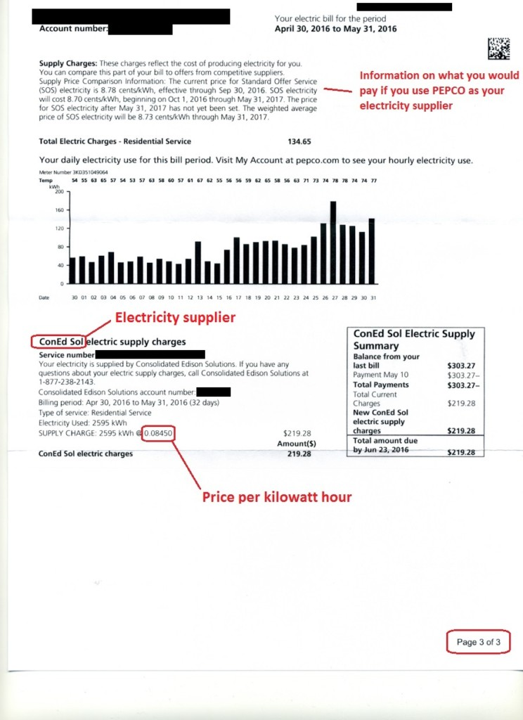 Electricity Bill Sample Click On Image To Expand